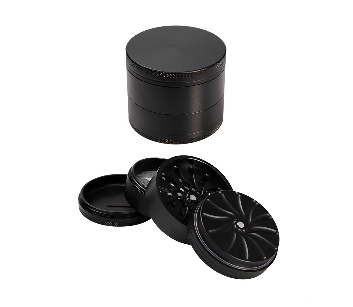Masher Aluminium Grinder 4-part Black 53mm