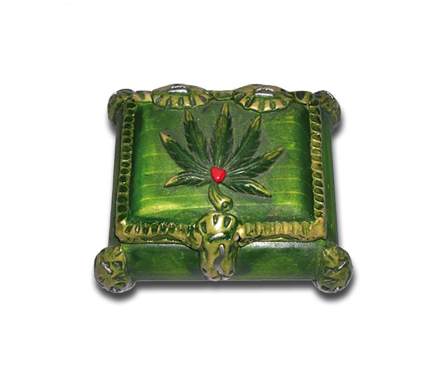 Stash Store Box Green Leaf
