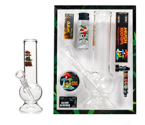 Mushroom Giftset Bong Lighter Papers and Grinder