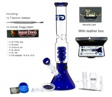 Blue Beaker GG Bong with Luxury leather Case