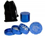 D-SMOKE HQ 4-Parts Grinder Blue incl. Velvet Bag - Waterpijp-bong.nl