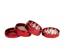 D-SMOKE HQ 4-Parts Grinder Red incl. Velvet Bag - Waterpijp-bong.nl