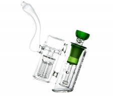 D-SMOKE Peace Seekah Double Perc Green Bubbler - Waterpijp-bong.nl