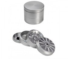 Masher Aluminium Grinder 4-part Silver - Waterpijp-bong.nl