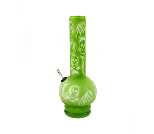 Ultimate Death Skull and Fire Glass Bong groen