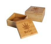 Black Leaf Bamboo Stash Storage Box